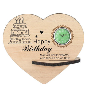 Happy Birthday Wooden Table Clock