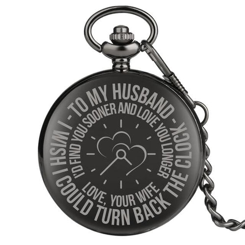 To My Husband I Would Love You Longer Engraved Pocket Watch