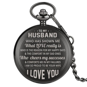 To My Husband I Am So Proud To Be Your Wife Engraved Pocket Watch