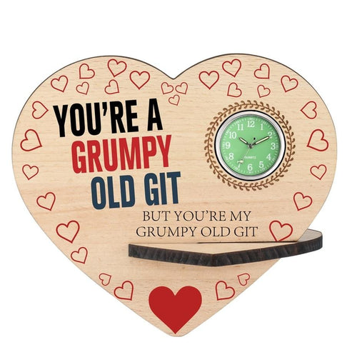 You Are My Grumpy Old Git Wooden Table Clock