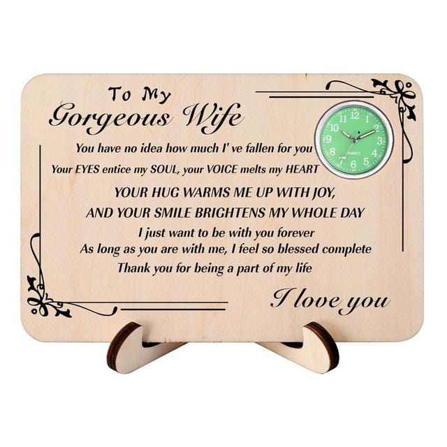 To My Wife I Love You Wooden Table Clock