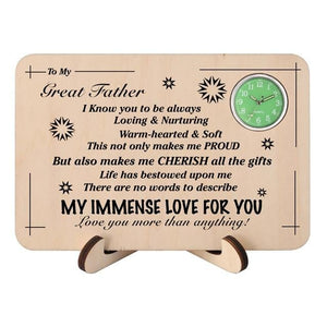 To My Great Father My Immense Love For You Wooden Table Clock
