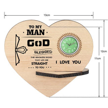 To My Man - I Love You Wooden Table Clock