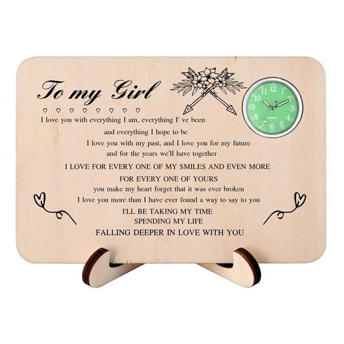 To My Girl - Falling Deeper In Love With You Wooden Table Clock