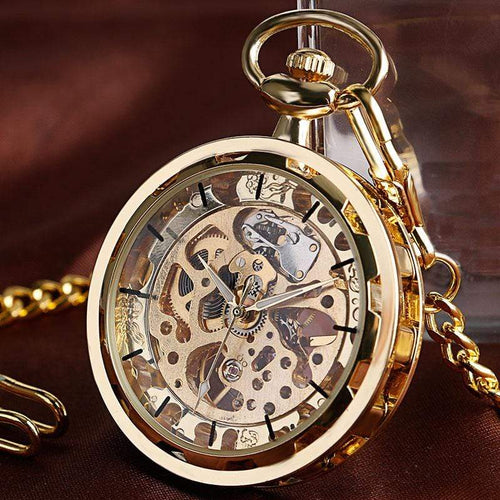 Skeleton Mechanic Gear Steampunk Pocket Watch