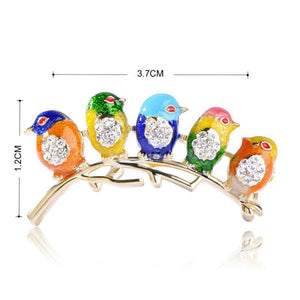 Colorful Five Birds Jewelry Rhinestones Enamel Brooch