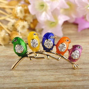 Brooches Colorful Five Birds Jewelry Rhinestones Enamel Brooch Colorful 1 GiveMe-Gifts