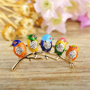 Brooches Colorful Five Birds Jewelry Rhinestones Enamel Brooch Colorful 2 GiveMe-Gifts