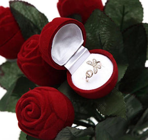 Red Rose Velvet Ring Box