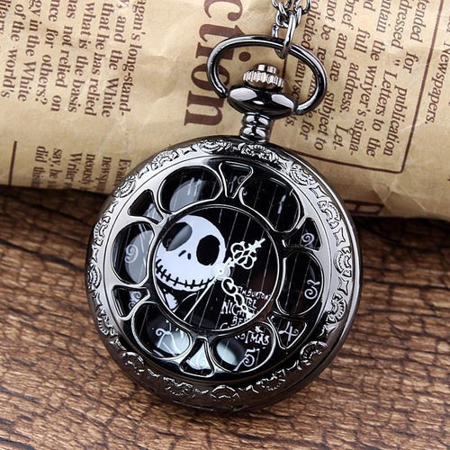 The Nightmare Before Christmas Black Steampunk Pocket Watch