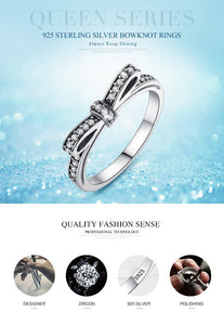 Sparkling Bow Knot Ring - 925 Sterling Silver