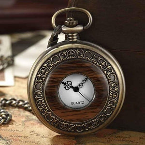 Solid Wood Hollow Vintage Pocket Watch