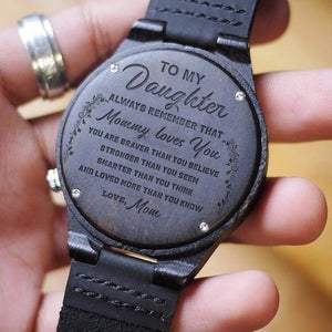 Mom To Daughter - I Love You More Engraved Wood Watch