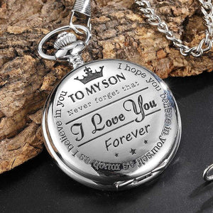 To My Son I Love You Silver Vintage Pocket Watch