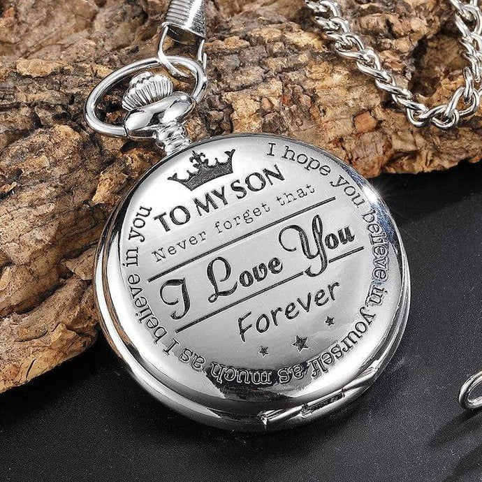 To My Son - I Love You Silver Vintage Pocket Watch