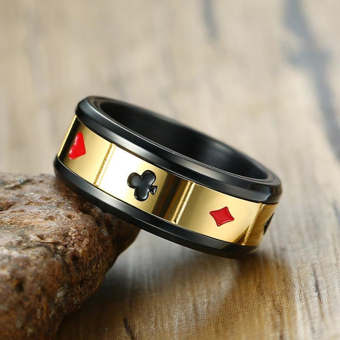 Lucky Gambling Black Poker Spinner Ring