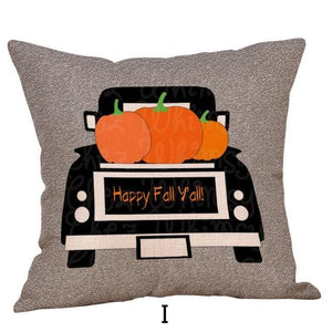 Happy Fall Y'all Pumpkin Harvest Halloween Decorations Set Throw Pillow Cover