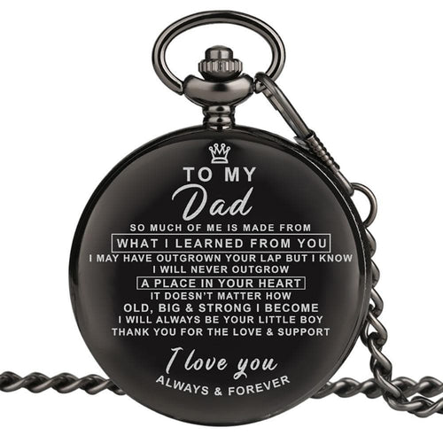 Son To My Dad I Love You Always And Forever Engraved Pocket Watch