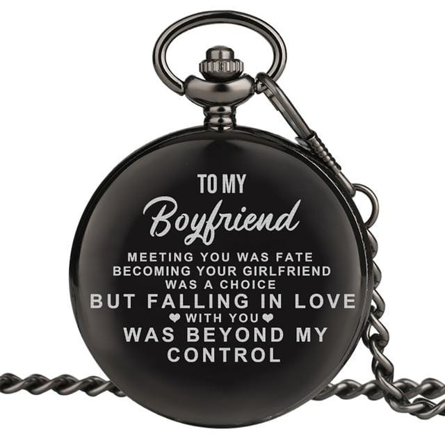 To My Boyfriend Falling In Love Engraved Pocket Watch
