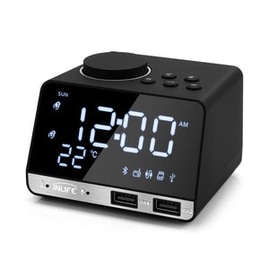 Bluetooth 4.2 Radio Alarm Clock With Dual USB Charging Ports