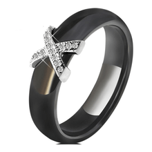 X Cross Crystal Ceramic Ring