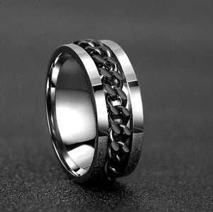 Silver Intertwined Chain Spinner Ring