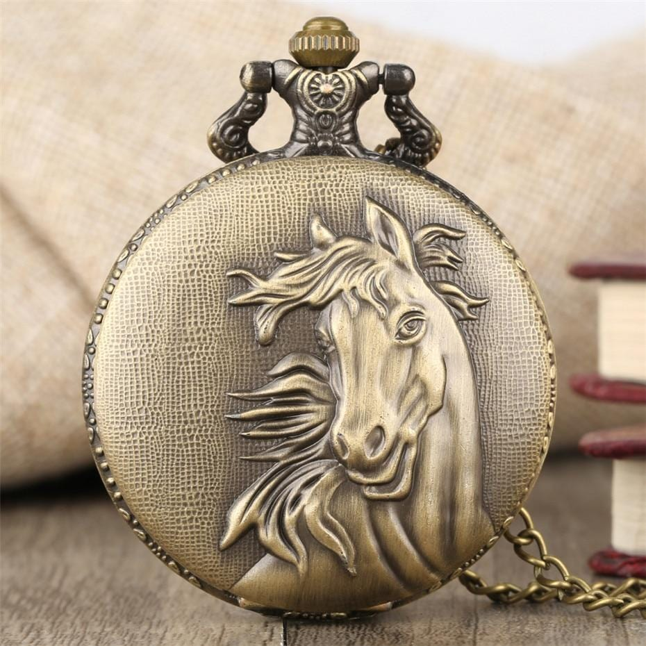 Bronze Elegant Horse Antique Pocket Watch