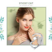 Sticky Cat with Long Tail Resizable Ring - 925 Sterling Silver