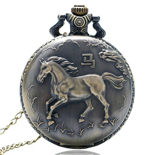 Bronze Elegant Horse Vintage Pocket Watch