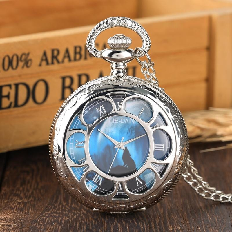 Mysterious Howling Wolf Silver Vintage Pocket Watch