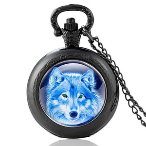Mysterious Wolf Black Vintage Pocket Watch