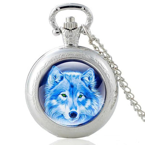 Mysterious Wolf Silver Vintage Pocket Watch