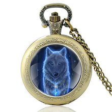 Mysterious Wolf Bronze Vintage Pocket Watch