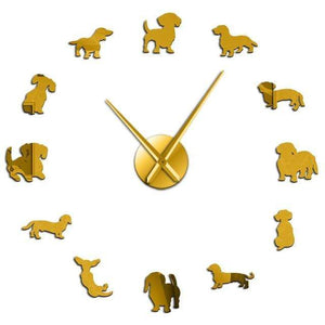Wall Clocks DIY Dachshund Wiener Dog Large Wall Clock Gold (47 Inches) GiveMe-Gifts