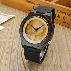 Watches Antlers Deer Head Black Wood Watch GiveMe-Gifts