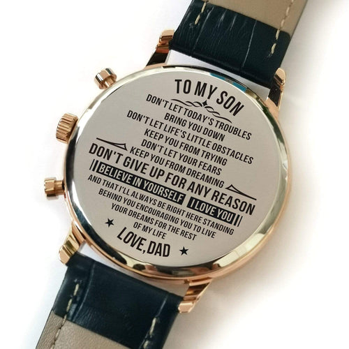 Watches Dad To Son - Believe In Yourself Engraved Watch GiveMe-Gifts
