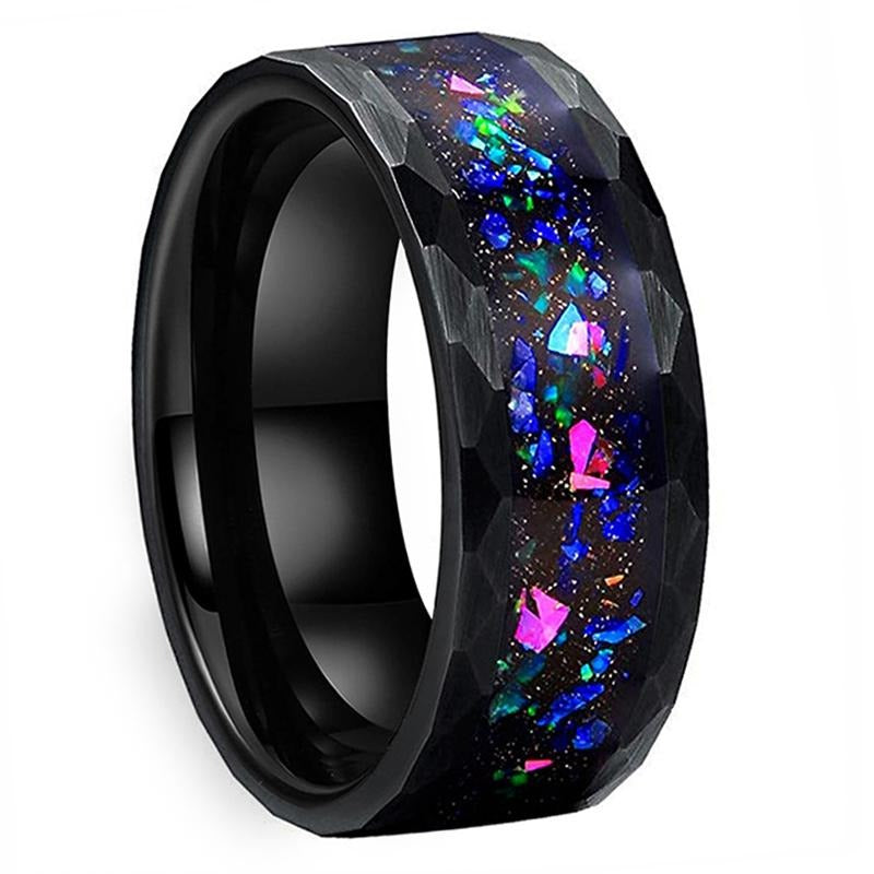 Hammered Tungsten & Galaxy Crushed Opal Ring (8mm).