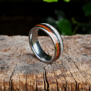 Silver Tungsten, Silver and Koa Wood Ring (8mm).