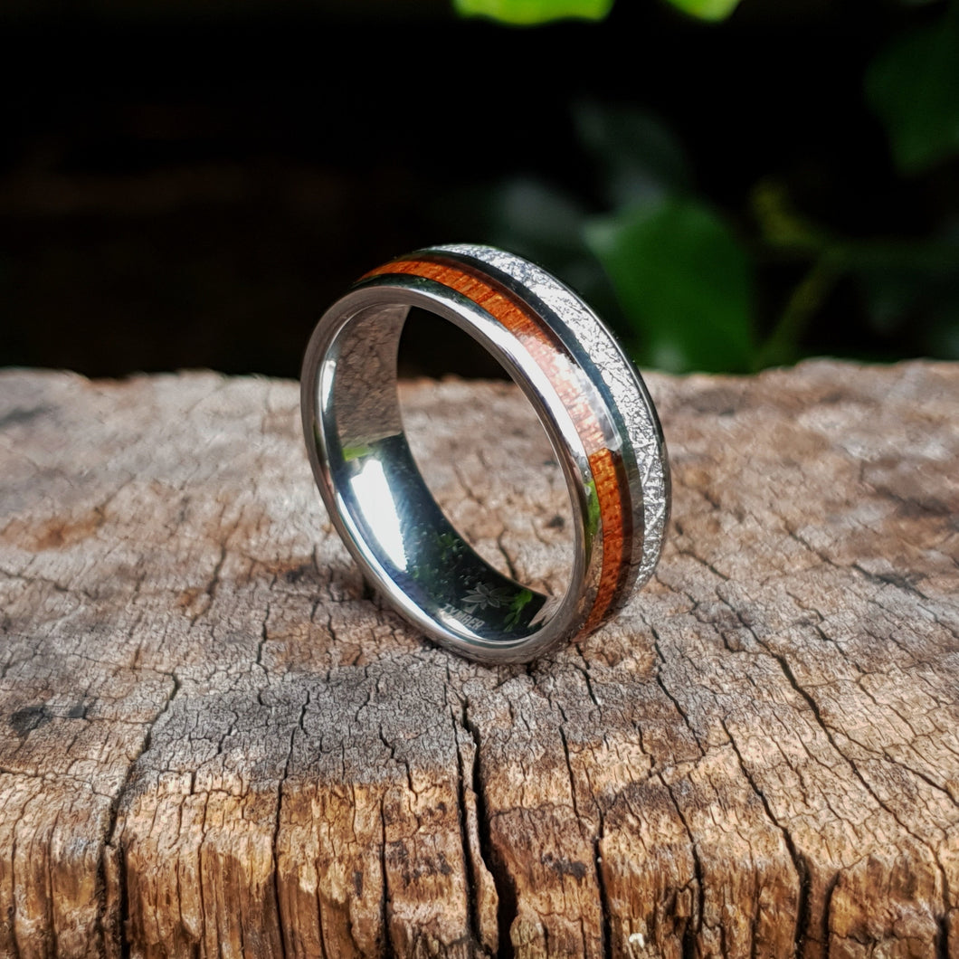 Silver Tungsten, Silver and Koa Wood Ring (8mm)