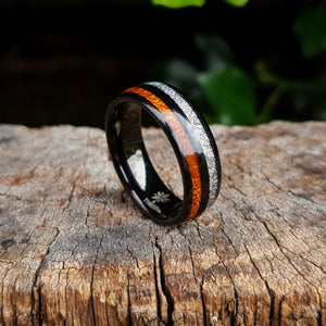 Black Tungsten, Silver and Koa Wood Ring (8mm)