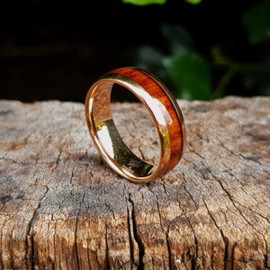 Rose Gold & Dark Red Wood Tungsten Ring (8mm)
