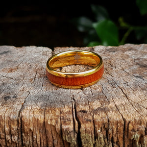 Yellow Gold & Wood Inlay Tungsten Ring (8mm)