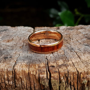 Rose Gold & Dark Red Wood Tungsten Ring (8mm).