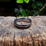 Koa Wood & Black Meteorite Arrow Tungsten Ring (8mm).