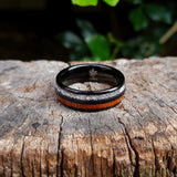 Black Tungsten, Silver and Koa Wood Ring (8mm).