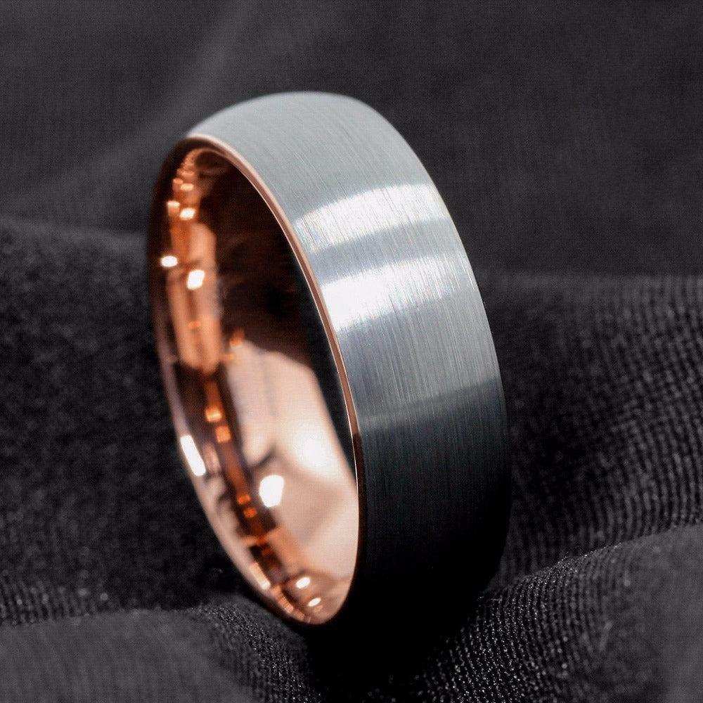 Brushed Silver & Rose Gold Tungsten Ring (8mm)