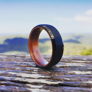 Brushed Black Tungsten with Wood Sleeve Ring (8mm)