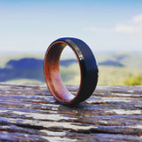 Brushed Black Tungsten with Wood Sleeve Ring (8mm).