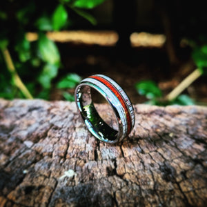 Koa Wood & Double Deer Antler Inlay Tungsten Ring (8mm).