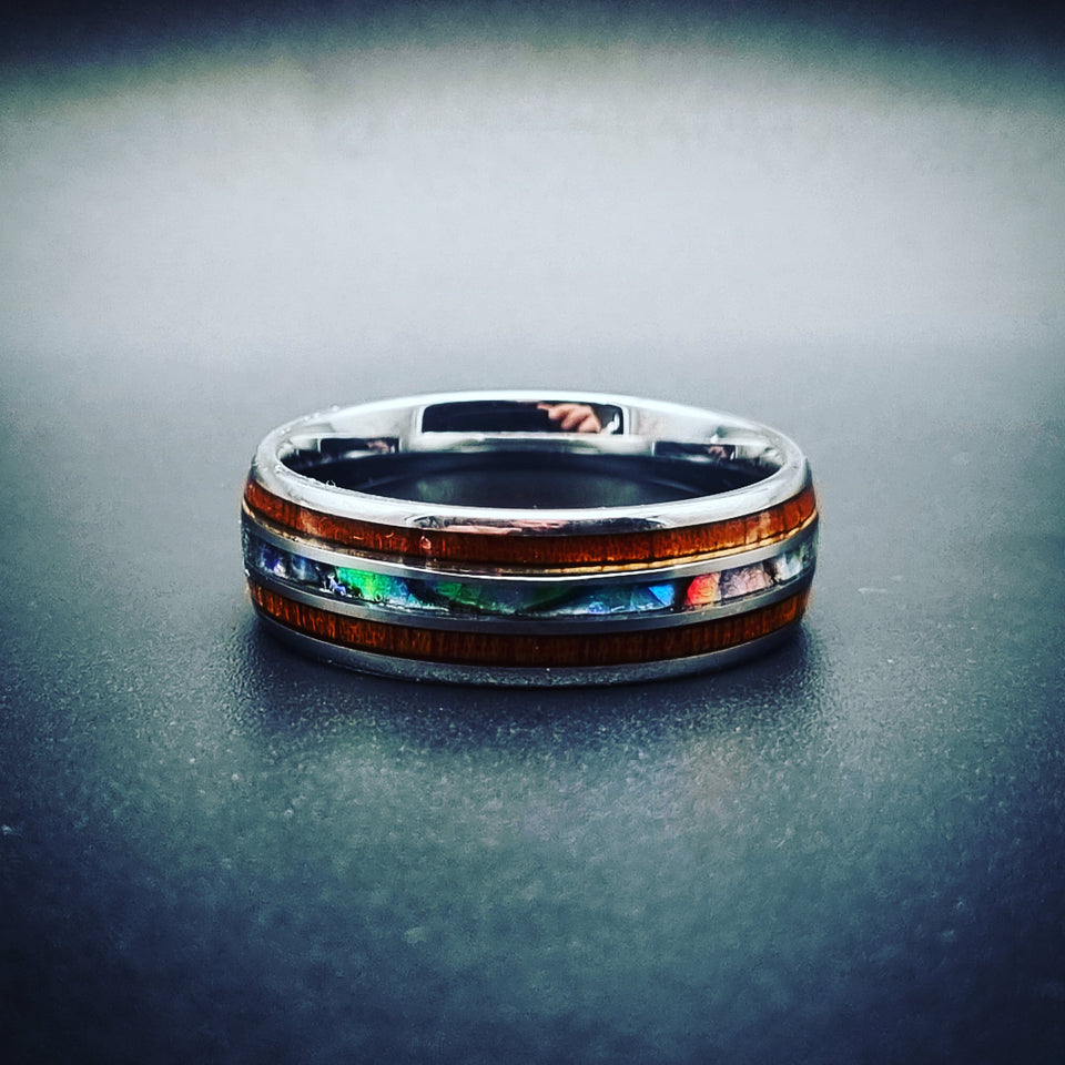 Wood & Shell Tungsten Ring (8mm)